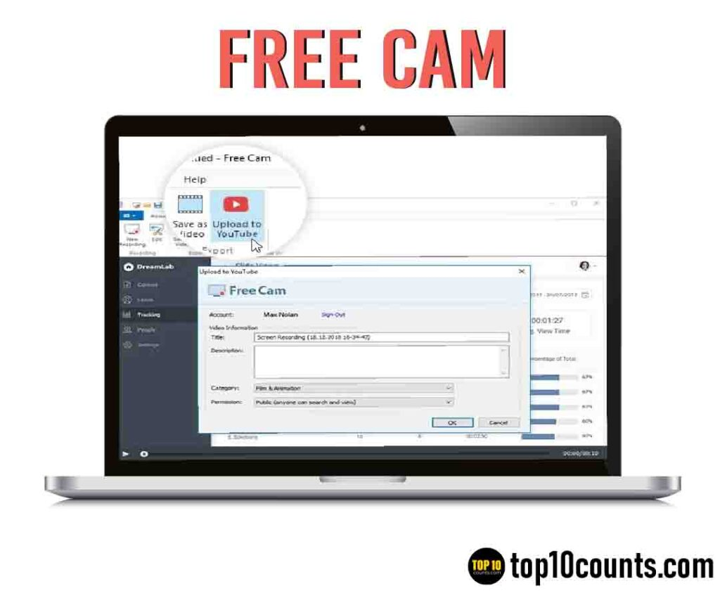 free cam - Best Screen Recording Software for Windows - top10counts