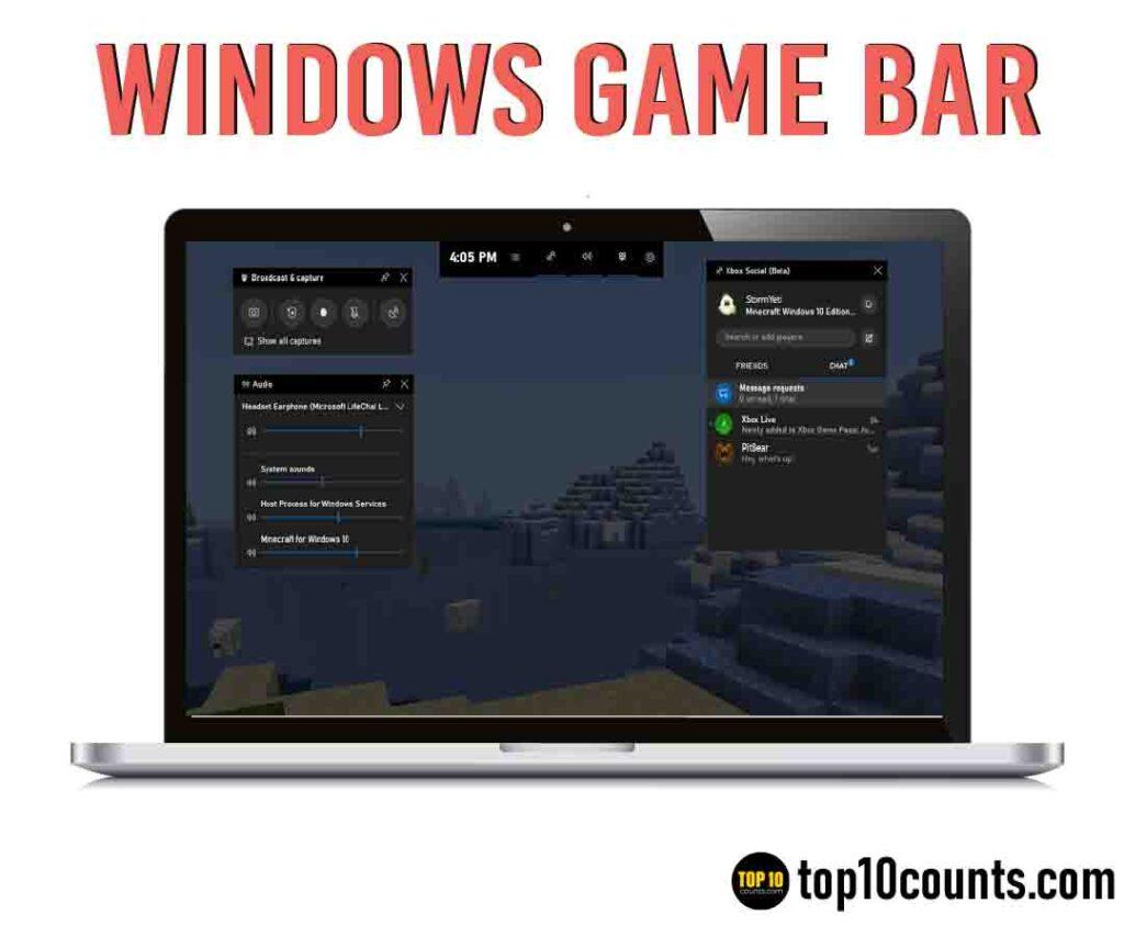 windowsgamebar- Best Screen Recording Software for Windows - top10countsar