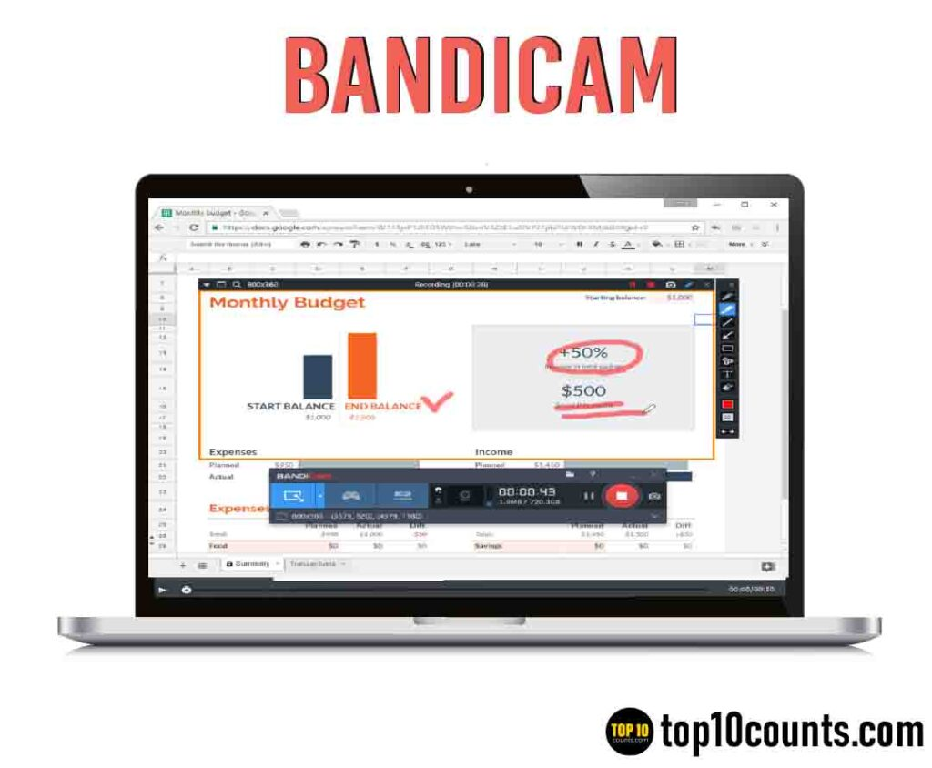 bandicam - Best Screen Recording Software for Windows - top10counts