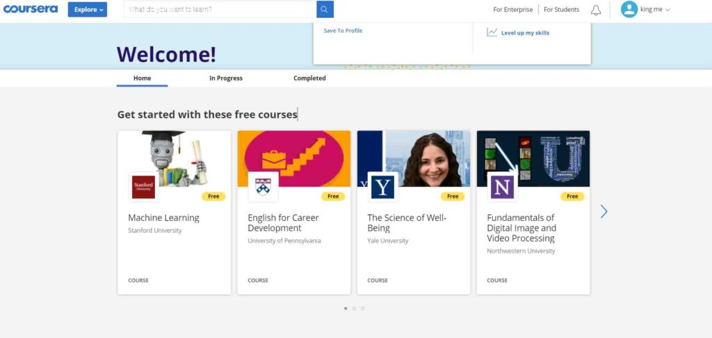 coursera -Best E-learning Platform 2020 - top10counts