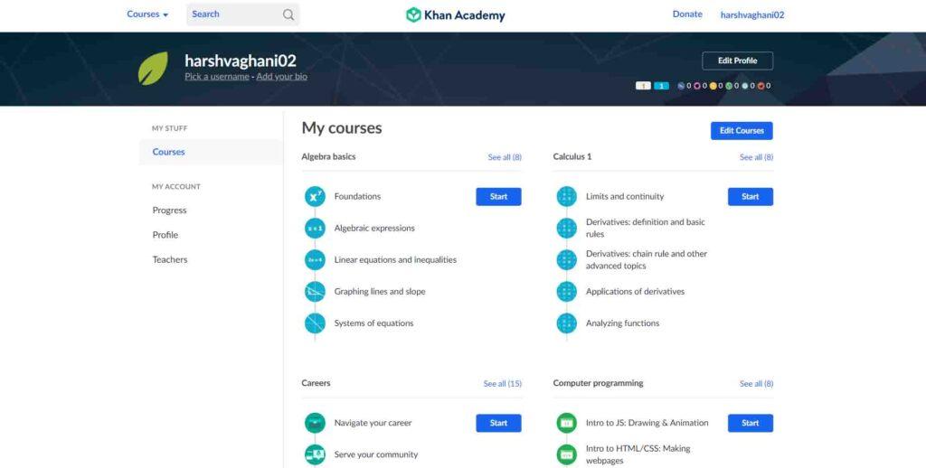 Khan Academy -Best E-learning Platform 2020 - top10counts